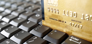credit card and computer keyboard