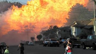 PG&E pipeline ignites an explosion in San Bruno 9/10/2010.