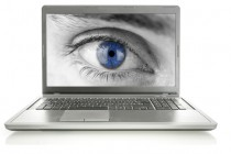 Human eye on laptop screen