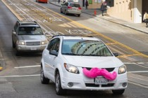 Lyft car on city street